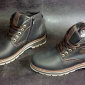 Кожаные зимние мужские ботинки молния . Удобная посадка ,стильны теплые
