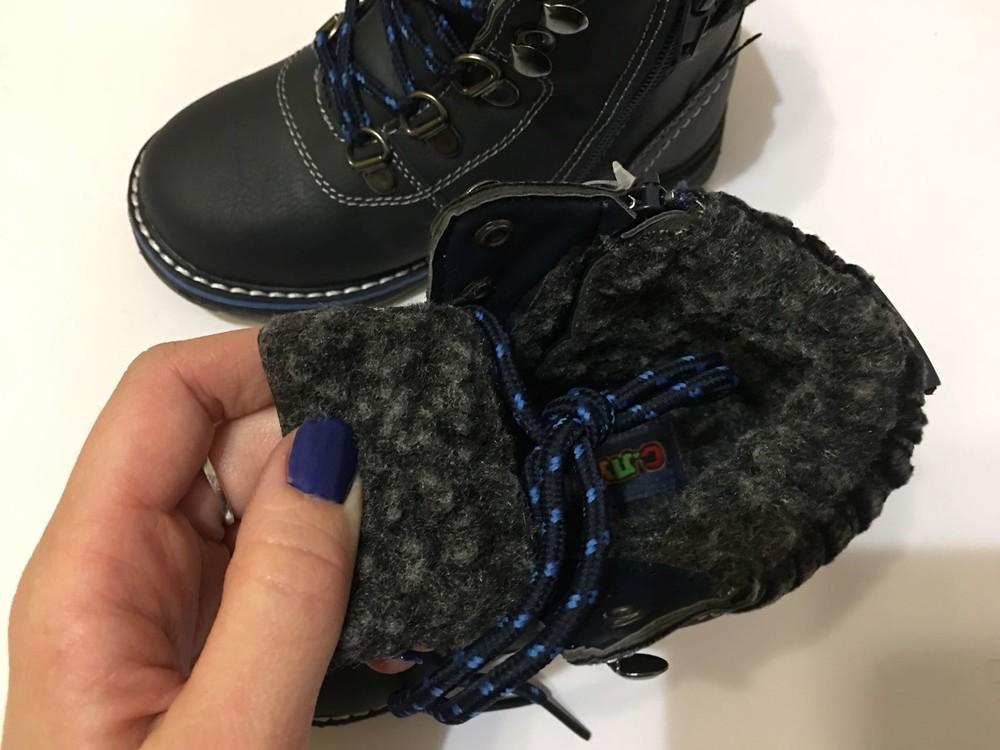 Ботинки зимние для мальчика на шнурках синие фото №6
