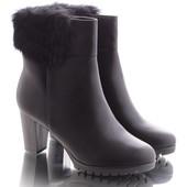 Зимние классические женские ботинки на меху