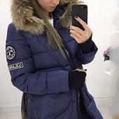 Размеры 42-54 Стильная зимняя теплая женская куртка-пуховик