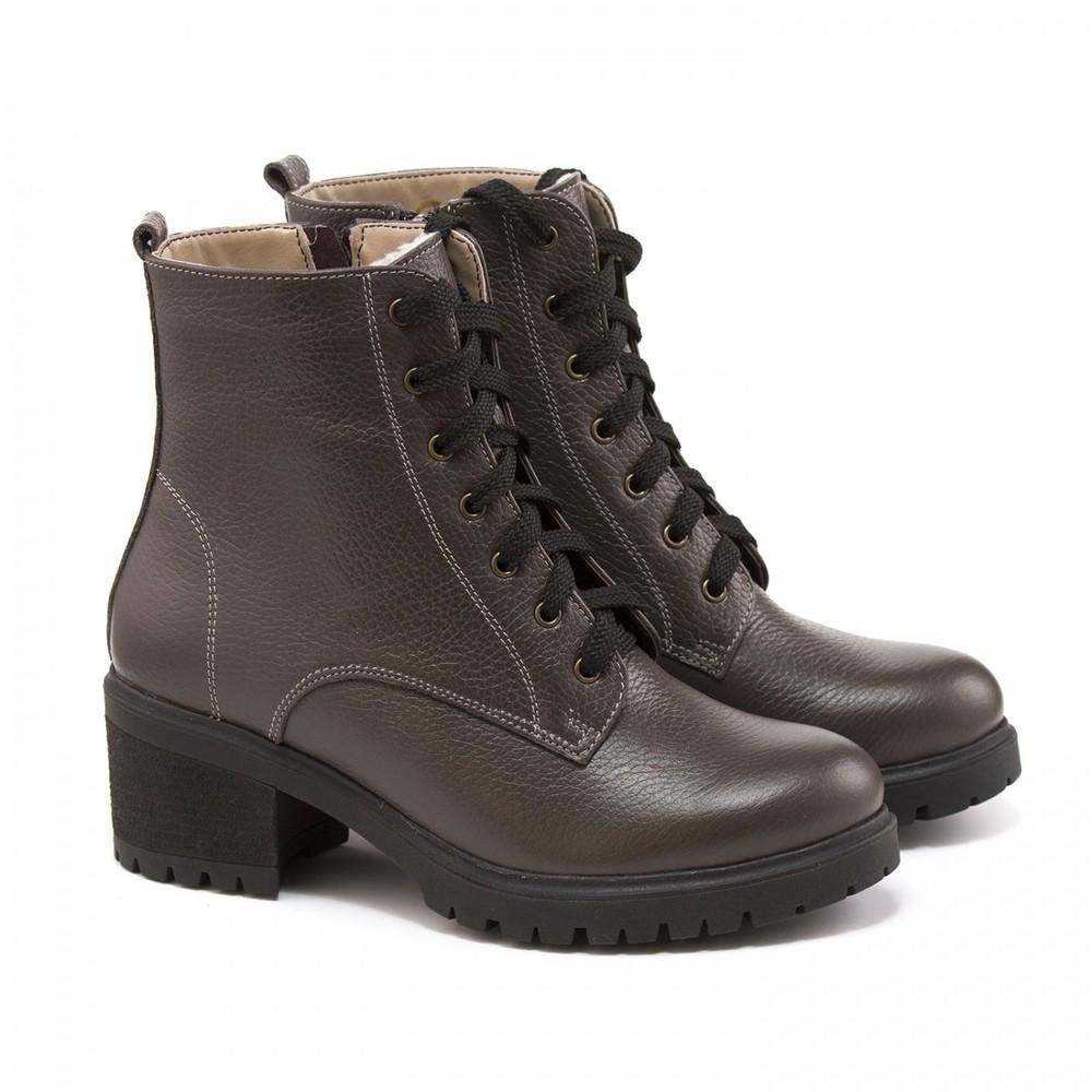 Зимние кожаные ботинки на небольшом каблуке черные и капучино, ботинки кожа зима фото №1