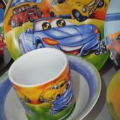 Детский набор посуды из керамики с машинками
