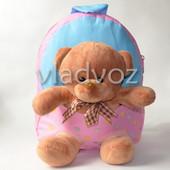 Детский рюкзак с мягкой игрушкой мишка нежно розовый 3672