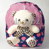 Детский рюкзак с мягкой игрушкой мишка синий полосы 3669