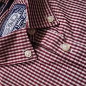 Мужская рубашка в мелкую клетку бардовая Super Dry L