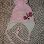 зимняя тёпла шапка девочке Toms 4-7 лет с шерстью ог 52-56 Польша
