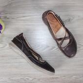 37 24см Khrio Кожаные Балетки на ремешках туфли мокасины