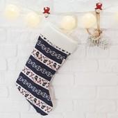 Новогодний сапог для конфет и подарков Снеговик, мягкая игрушка подвеска на Новый год