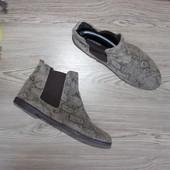 41 26см topshop кожаные челси ботинки на низком ходу замша