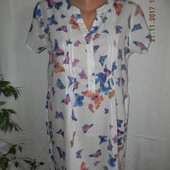 Легкое натуральное платье-туника с принтом бабочки