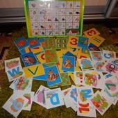 Доска с алфавитом+ огромный лот развивающих карточек