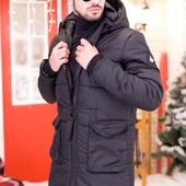 Мужская зимняя удлиненная куртка-пальто  46-52р