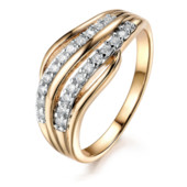 Позолоченное кольцо женское с белыми цирконами код 1296
