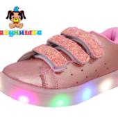 Горящие кроссовки Шалунишка на девочку 25 размер розовые