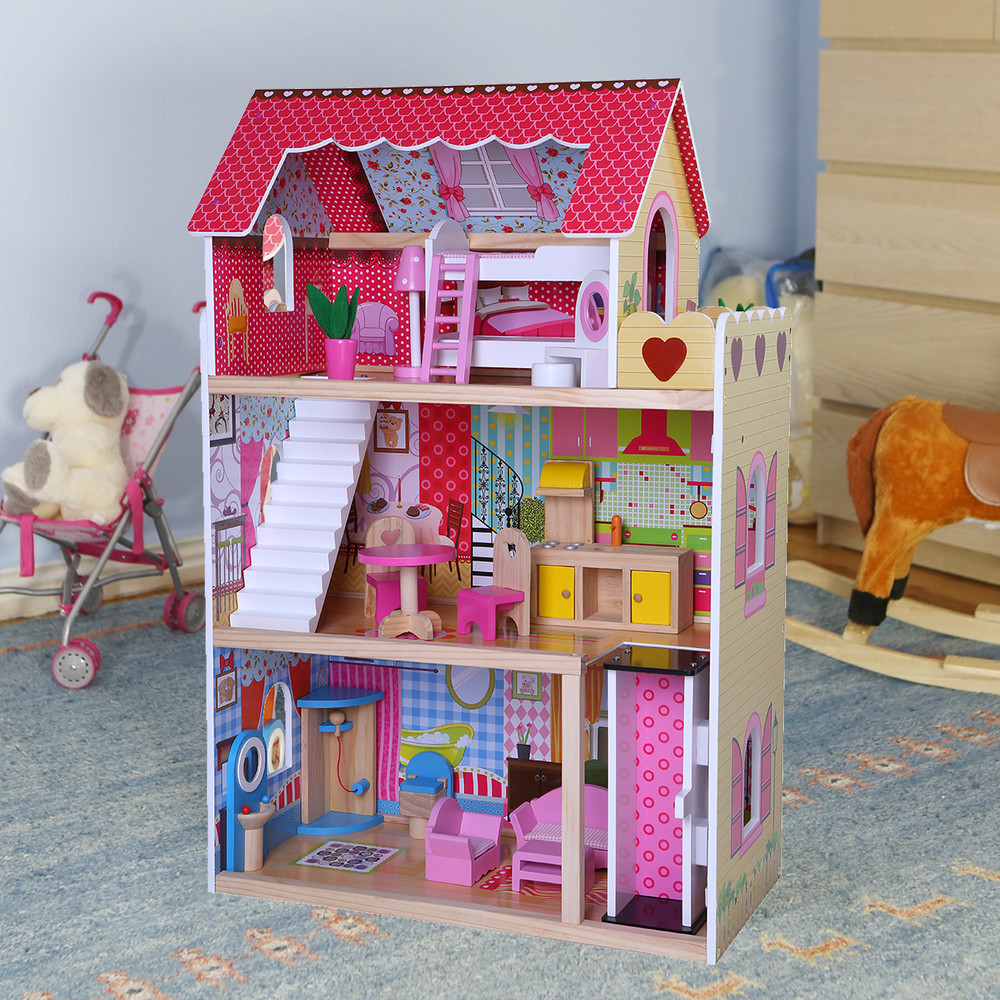Игровой кукольный домик для барби 4120 roseberry + лифт + 2 куклы фото №1