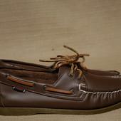 Фирменные кожаные топсайдеры шоколадного цвета Sebago Docksides сша 44