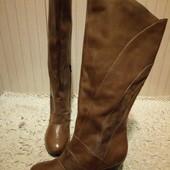 Утеплені Високі чоботи із натуральної шкіри і замші 40 і 41 Р-ри.