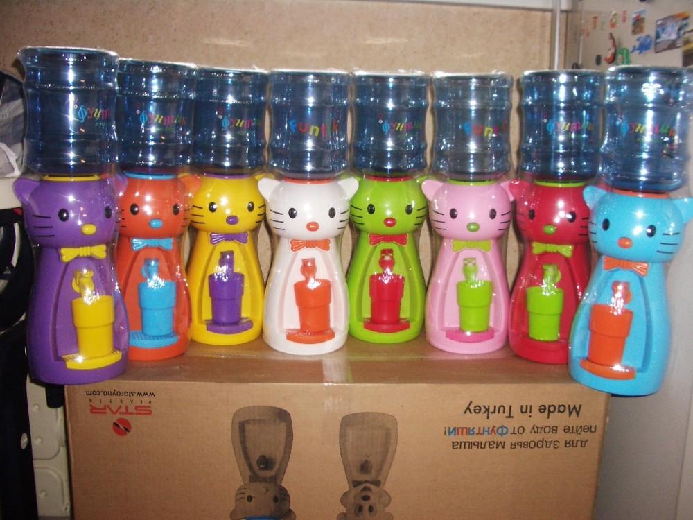 Детский кулер для воды фунтик, диспенсер для воды кошечка kitty, мишка и утенок фото №1