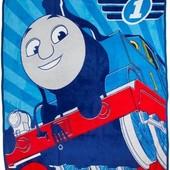 Детское одеялко мягкий велюровый пледик Паровоз Томас 120х150 для мальчика