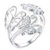 Нежное ажурное серебряное колечко с бабочками