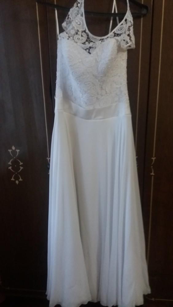 Даром!эксклюзив!свадебное платье с ажурные корсетом!не венчаное. с атласным поясом . фото №1