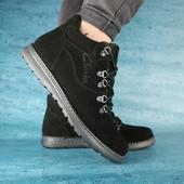 Ботинки Clarks, на меху, р. 40-45, черн, син, код gavk-10525