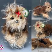 Детская сумка Собачка Йорк, 32см, на цепочке, мягкая игрушка собака, сумочка на молнии