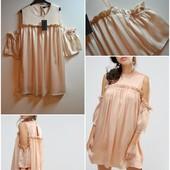 Красивое платье с открытыми плечами и рюшиками fashion union ,пудровое