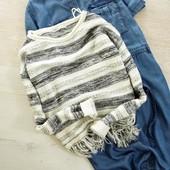 S-M Актуальный свитерок с бахромой в бохо стиле only