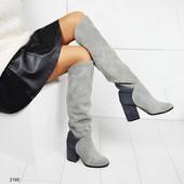 Демисезонные замшевые ботфорты на толстом каблуке