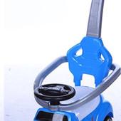 Игрушка - каталка автомобиль-толокар  с родительской ручкой для прогулок, синий