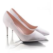Элегантные женские серебристые туфли лодочки