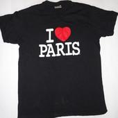 Мужская футболка I love Paris р.М (ог 100) плотный коттон