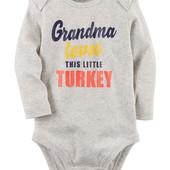 Коллекционные боди от Carters с принтом grandma loves this little turkey, одежда из США