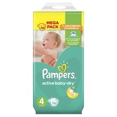 Подгузники Pampers Active Baby-Dry,размер 4 (8-14кг) 132шт