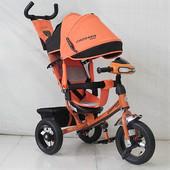 Велосипед детский трехколесный Azimut Trike Фара  надувные колёса  оранжевый