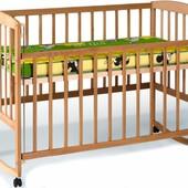Кровать с подвиж.боков +дуги +колеса (1200*600)(бук)1790001
