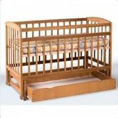 Кровать детская на шарнирах с откидной боковиной с ящиками (1200*600)(бук)1790005