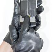 Кожаные мужские сенсорные перчатки.