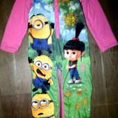 Слип,пижама двухсторонняя Миньоны на 7-8лет(122-128см)!флис,хлопок
