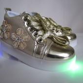 Золотые мигающие ботиночки 26-28 р