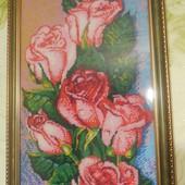 """Картина бисером """"Розы"""", ручная работа"""