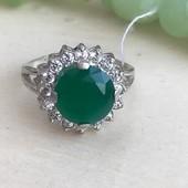 Кольцо серебряное 4258 зеленое