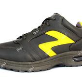Мужские серые кроссовки с желтой вставкой маломерки (582)