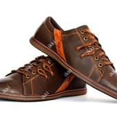39 и 40 р Мужские спортивные туфли - мокасины коричневые (3233-3)