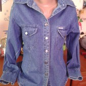 Colin^s джинсовая котоновая рубашка приталенная размер л