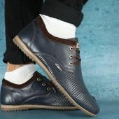 Туфли Clarks с перфорацией, кожа, р. 40-45, код gavk-0115