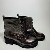 Новинка!!!! деми/зима ботинки натуральная замша / кожа код: Модель: 7917-96, кристалл никель