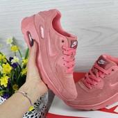 Кроссовки женские Nikе Air Max 90 розовые замш
