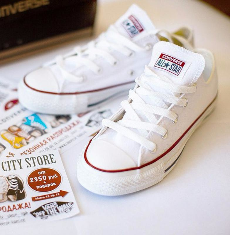 Кеды белые низкие converse all star low white! конверсы конверс кеди конверси фото №1